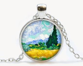 Van Gogh Wheat Field with Cypresses art pendant. Van Gogh Art Necklace. Van Gogh jewelry. Birthday gift