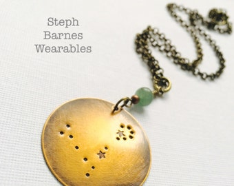 Constellation necklace in bronze with  jade detail