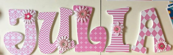 wood letters decorative wood letters wall letters for baby nursery pink letters julia wall