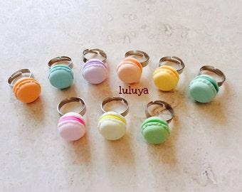 French Pastry Pastel Macaroon Macaron Adjustable Rings Kawaii Cute Gift Adorable Birthday BTS