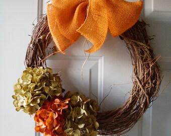 Door Wreath for Fall , Rust Green Hydrangea Flowers Wreath, Rustic Wreath