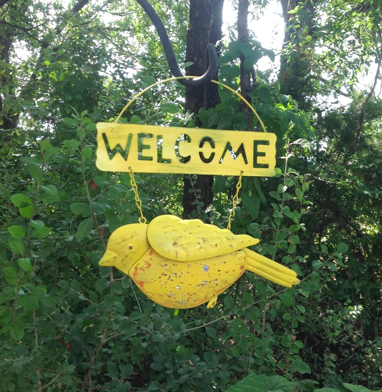 Hanging Bird Welcome Sign Yellow Hanging Metal Outdoor Patio