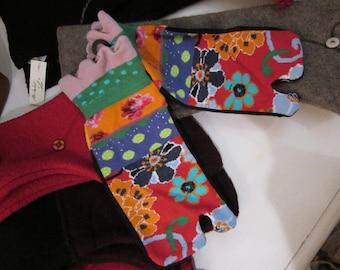 Printed bobby socks, motive flowers, made in France