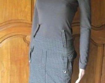 Dress for woman, original band(strip), fine stripes(scratches) on bottom marinates