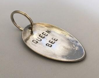 spoon keyring; queen bee, personalosed key chain, custom wording, monogrammed accessories