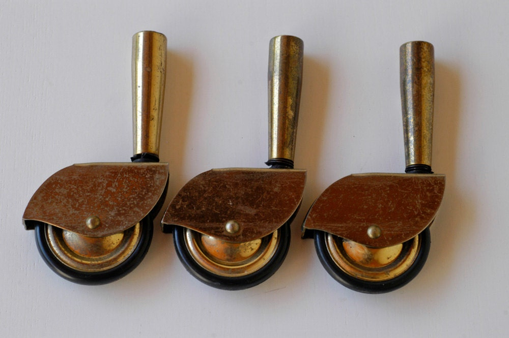 Caster Wheels 3 Brass Metal Mid Century Furniture Casters