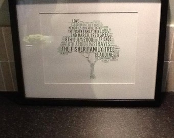 Personalised Family Tree Word Art Print - A4