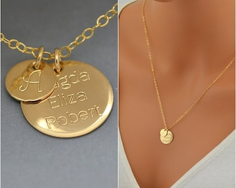 Initial Disc Necklace, Gold Initial Disc Necklace, Initial Disc Charm, Gold initial Necklace, Monogram Disc Necklace