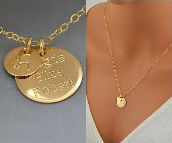 initial disc necklace gold initial disc necklace initial. Black Bedroom Furniture Sets. Home Design Ideas