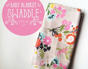 Flowery Cotton Flannel Baby Blanket, Receiving, Swaddling, Baby Gift, Baby Shower