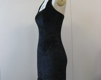 Vintage Rivals @ Ryves  black velvet, backless stretchy slinky mini dress in size 12