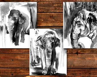 Set of 3 prints, Elephant Art in black and white, elephant paintings, giclee prints, ink drawing, Bedroom Art,  8x10, 11x14, gift idea