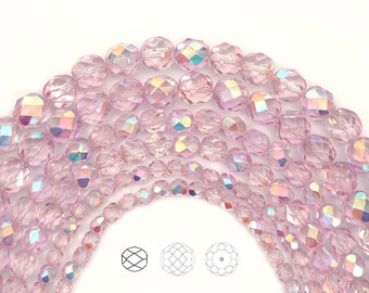 Crystal Pink Shimmer AB coated, Czech Glass Fire Polished Round Faceted Beads, 16 inch strands, in 4mm, 6mm and 8mm size, Aurore Borealis