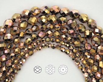 Jet California Pink (Black Aurum Copper) coated, Czech Fire Polished Round Faceted Glass Beads, 3mm, 4mm, 6mm and 8mm on 16 inch strand