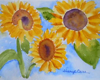 Three Sunflowers Watercolor Notecard