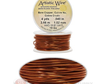 18 Gauge Copper Artistic Craft Wire 12 Feet 3.65 Meters Jewelry Beading Crafts (Free Shipping USA)
