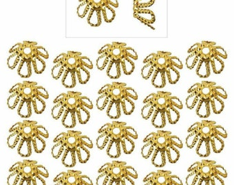20 22k Gold Plated 7mm Fancy Open Petal Flower Bead Caps Jewelry Making (Free Shipping USA)