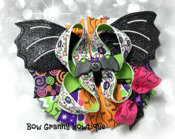 Batty for Daddy Bow, Halloween Bow, Halloween Hair Bow, Bat Bow, Bat Hair Bow, Bat Halloween Bow, Over the Top Bow, Daddy Bow, Black Bow