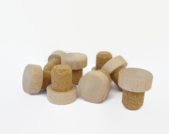 x4 Bottle Stoppers, Wood Wine Stoppers, Natural Wood Bottle Corks, Set of 4 stoppers in an Organza Bag