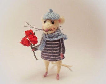 Needle Felted Mouse, Lovely gift, Romantic gift, Gift for Her, Girlfriend gift, Valentine's Day, Home Decoration, Cute gift