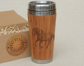 Customized Engraved Bamboo Wood Travel Mug MUSTANG Car or Desk Coffee Tea Cup Stainless Steel with Rubber Mounted Plastic Lid