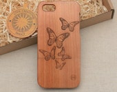 Nature/Insects Custom Design ''Monarchs'' Natural Cherry Wood Phone Case Samsung Galaxy A5 S5 mini S6 edge S7 edge S8 plus Samsung Note 4 5