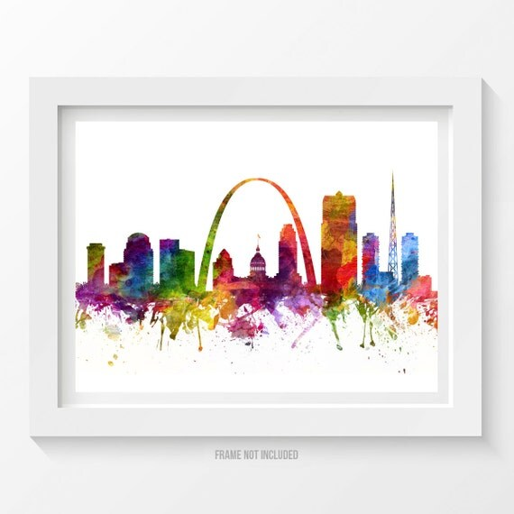 St Louis Missouri Skyline Poster St Louis Cityscape by