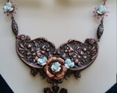 Blue Rose Statement Necklace, Flower Necklace, Repurposed Vintage Jewelry, Medallion Necklace, Floral Necklace, Copper Necklace, Handmade