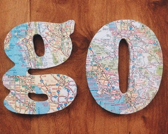 Go Wooden Letters / Maps / Wall Art / Map Covered Letters / Vintage Letters