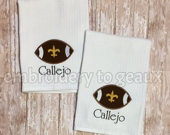 Personalized New Orleans Saints Inspired Kitchen Towels-Set of 2