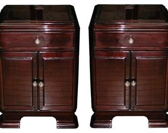 6112 Pair of Rosewood Art Deco Nightstands