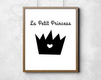 "Wall poster The Little Princess Le Petit Princess Digital Art Nursery Room Kids Art Black & White Typography Poster 8"" x 10"""