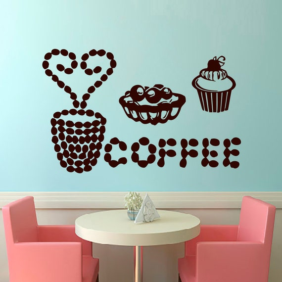 Wall decals coffee decal vinyl sticker home decor by cozydecal for Mural coffee