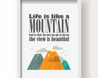 Typographic poster, Quote art, Inspirational print,typography print,digital print,wall print,typography poster,wall decor,mountains