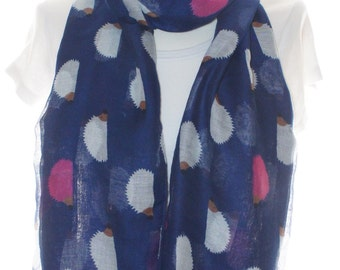 Navy hedgehog scarf , Beach Wrap, Cowl Scarf Pareo teal hedgehog Print Scarf , Cotton Scarf, Gifts for Her