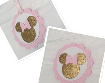 MINNIE MOUSE TAGS, vintage style minnie mouse tags, pink and gold minnie mouse tags, thank you tags, favor tags, silhouette minnie mouse