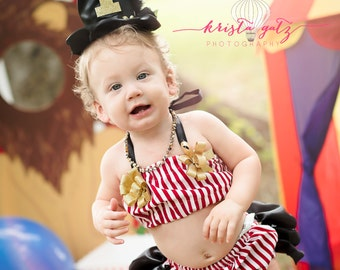 1st Birthday Cake Smash Outfit Circus Ringleader Carnival Two Piece with Top Hat for Baby Girl