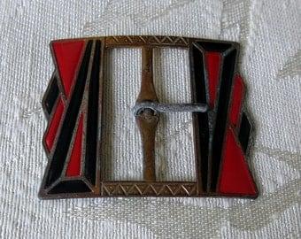 Art Deco Robbins & Tenney Red and Black Enamel Belt Buckle