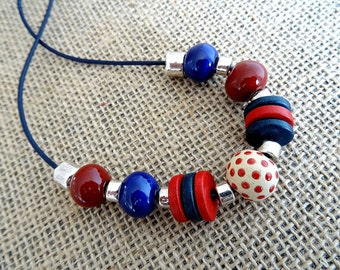 Ceramic Necklace, Ladies Necklace, Red Necklace, Cobalt Necklace, Royal Blue Necklace.