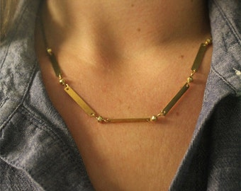 Brass Balance Bars Necklace // Bar Necklace // Minimalist Necklace // Handmade with Love!