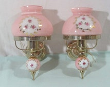 Pair of 1950's French wall lights, Pink glass and gold wall sconces, French vintage lighting, cottage chic, bedroom lights,