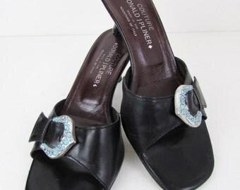 Vintage Donald J Pliner Couture Black Mules Woman's 8.5 M