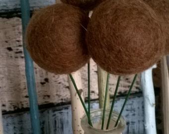 Felt Balls Flowers 3cm x 20 - 100% Wool Billy Button Balls Needle Felt Party Wedding Decoration Table Setting Ivory White
