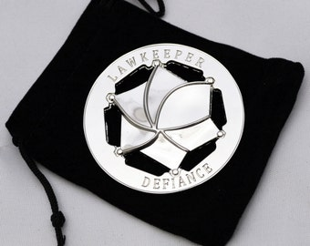 DEFIANCE Style Lawkeeper Round Metal Badge with Pin Back Prop Replica Star