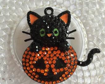 Black Cat & Pumpkin Halloween Rhinestone Pendant - Chunky Bubblegum Charm