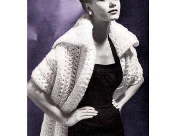 Vintage crochet Stole Shawl PDF pattern , download pattern
