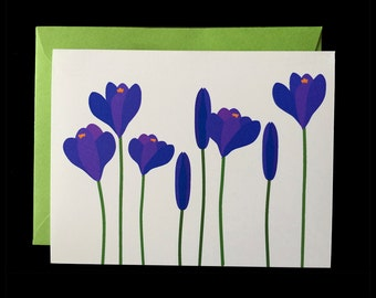 Purple Crocus - Greeting Card w/ Green Envelopes