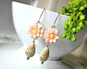 Pink Marigold Flower Ivory Gold Etched Teardrop Bead Earrings. Flower Teardrop Earrings. Floral Ornate Ivory Teardrop Dangle Earrings.