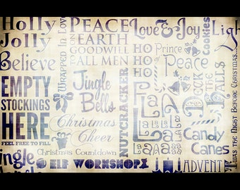 """Christmas Words Collage Paper - 10 1/2 X 16"""" - Select Color"""