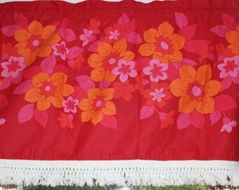 So sweet vintage retro Curtain Valance. Red with orange and pink flowers. Made in Sweden Scandinavian.